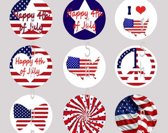 1 Inch Circle Images for bottle cap, scrapbooking, cupcake or other - 4th of July Independence Day American with Automatic Digital Download