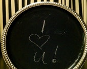 READY TO SHIP: Round Silver, Magnetic Chalkboard Tray
