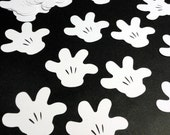 "2.5"" Mickey Mouse Glove Silhouettes White Cutouts Die Cut Paper Crafting Scrapbooking Card Making Supplies"