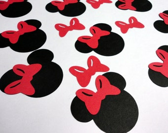 "2.5"" Minnie Mouse Head Silhouettes Black Cutouts with Color Choice RED OR PINK Bows Bows Not Attached Die Cut Paper"