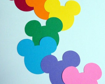 """35 - 2.5"""" Mix and Match Rainbow Mickey Mouse Head Silhouettes Cutouts Die Cut Paper Scrapbooking Supplies"""