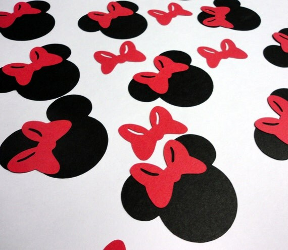 """30 - 2.5"""" Minnie Mouse Head Silhouettes Black Cutouts with Color ..."""