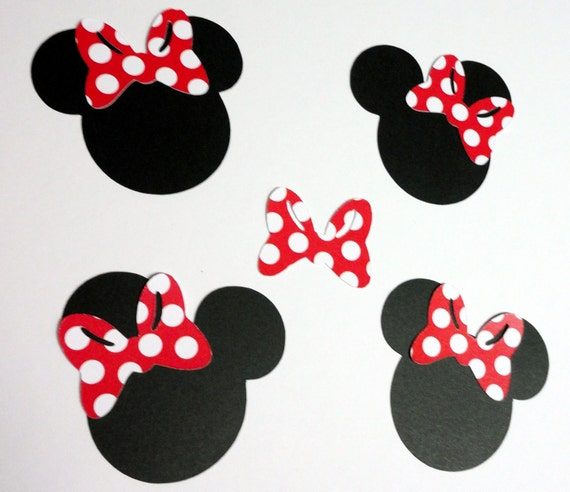 "30 - 2.5"" Minnie Mouse Head Silhouettes Black Cutouts Red and White Polka Dot Bows Not Attached Die Cut Paper Scrapbooking Supplies"