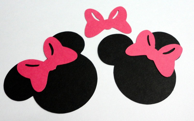 30 2.5 Minnie Mouse Head Silhouettes Black Cutouts