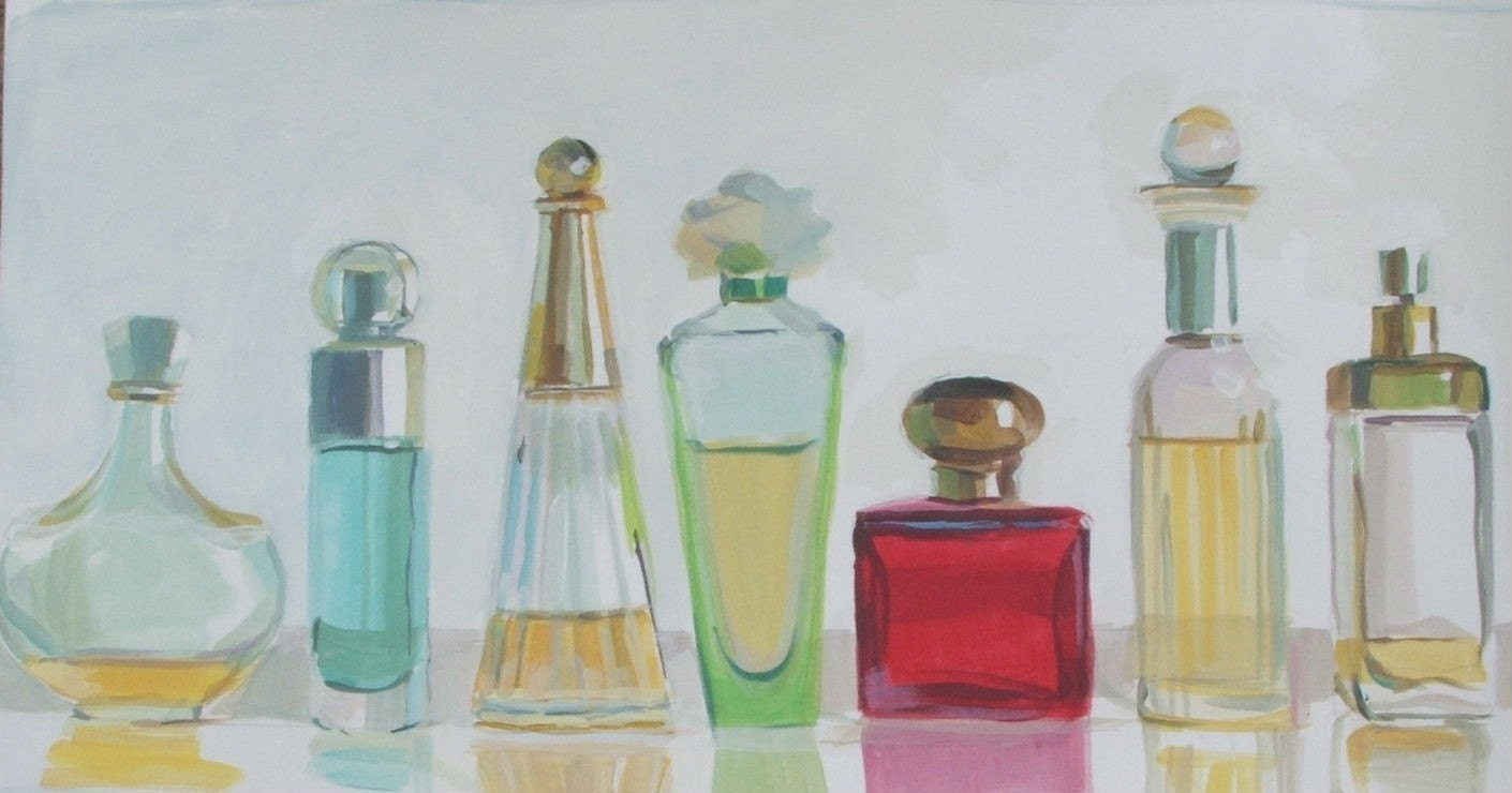 Original acrylic painting of perfume bottles by artbytemple for How to paint bottles with acrylic