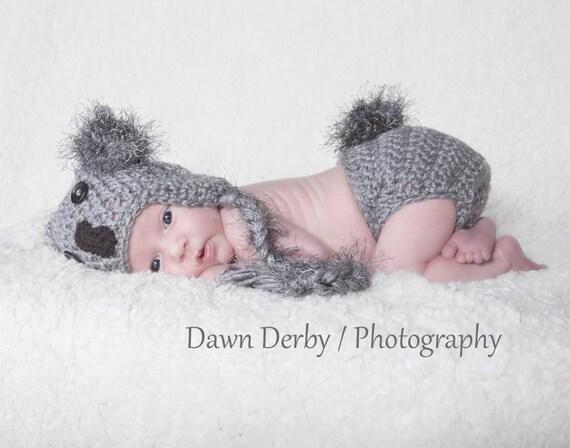 Koala Bear Hat & Diaper Cover Set Newborn Baby Photo Prop Unisex