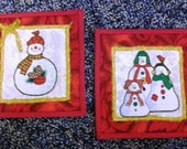 Snowmen Fabric Postcards