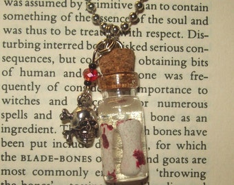 Mini Bottle Necklace / Bloody Bones W/ Skull and Crossbones no.04 - Free US Shipping!