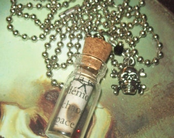 Miniature Glass Bottle Necklace - Demons - Skull and Crossbones - 06 - Free US Shipping!