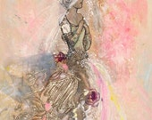 Romance- reproduction print of mixed media with antique metallic lace