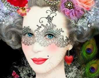 art print-- Queen of Delights - digital painting/collage