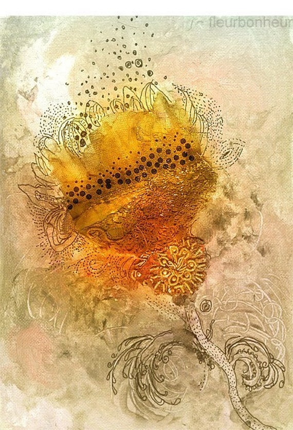 The Golden Flower- reproduction print of mixed media  with antique metallic embroidery