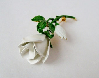 Vintage Rosebuds Brooch White and Green on Gold Tone
