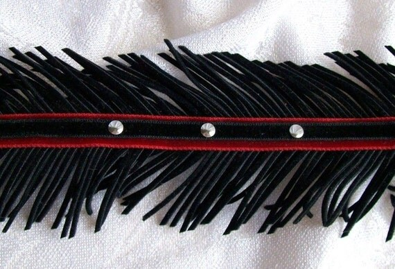 SALE Black and Red Suede Fringe Studded Choker