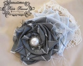 POSH Couture Silk and Pearl Fabric Flower Rosette cluster headband - Silver Gray Ivory Cream - (Custom Order) - Photography Prop - Wedding