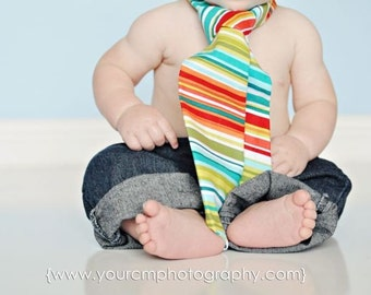 Little and Big Guy Necktie Tie - Red Green Multi Stripe - (all sizes) - Baby Boy Toddler - Custom Order