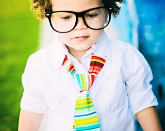 Little Guy Necktie Tie - Red Green Multi Stripe - (2T- 4T) - Baby Boy Toddler - Made to Order