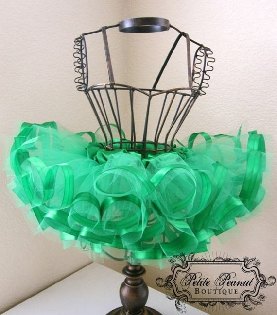 Satin Ribbon Edged Princess Tutu- (Newborn - 3 months)- Emerald Green - Custom Order - Photography prop Weddings- St Patricks day