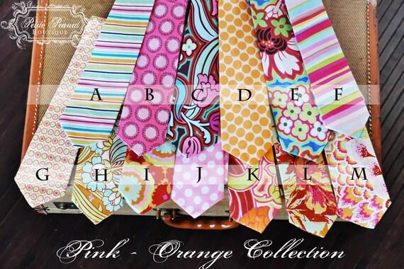 Little Guy SPRING Necktie Tie - Pink Orange Collection - (Newborn - 12 months) - Baby Boy Toddler - Custom Order - Wedding - Photo Prop