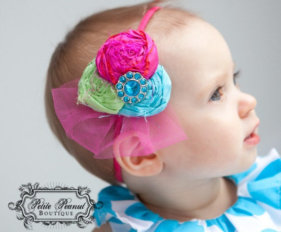 URBAN Vintage Couture Silk and Lace Rhinestone Fabric Flower cluster - Teal Turquoise  Lime Green Hot Pink - (Custom Order) - Photo Prop