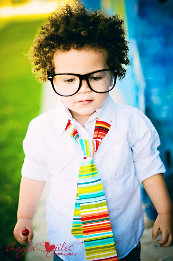 Little Guy Necktie Tie - Red Green Multi Stripe - (2T- 4T) - Baby Boy Toddler - Custom Order