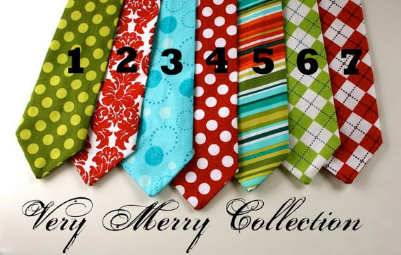Little Guy HOLIDAY Christmas Necktie Tie - Very Merry Collection - (12 months - 2T) - Baby Boy Toddler - Custom Order - Wedding - Photo Prop