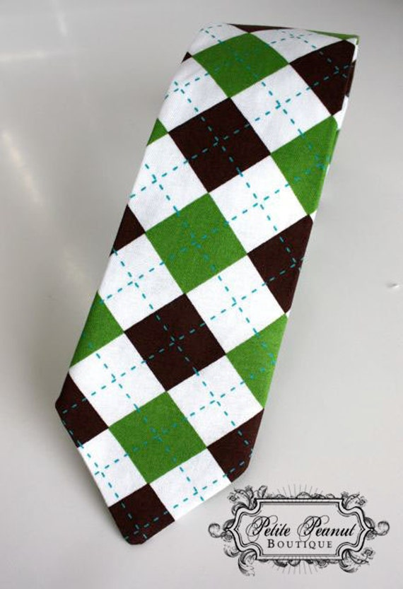 Little Guy Necktie Tie - Brown and Green argyle - (You pick the size) - Newborn - 10 years (Made to Order)- SALE