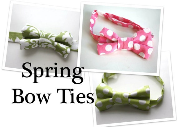 Little Guy SPRING EASTER Bow tie - Pink and Green Collection - (Newborn - 10 years) - Baby Boy Toddler - Custom Order - Wedding - Photo Prop