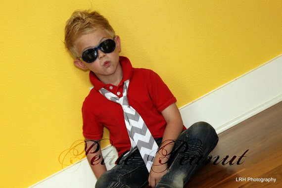 Little Guy Necktie Tie - CHEVRON Collection - (2T- 4T) - Baby Boy Toddler - Wedding - Photo Prop