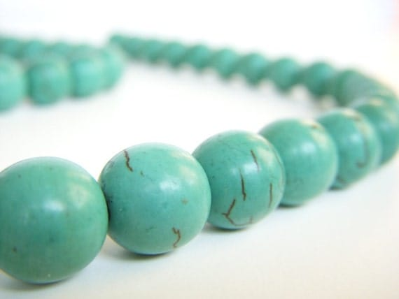 Sale Turquoise Beads Round Aqua Blue Green 10mm Full Strand