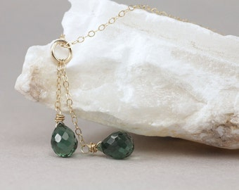 green quartz double pendant necklace . rivendell