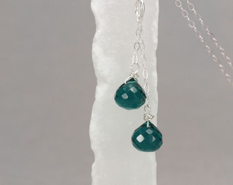 teal quartz double pendant necklace . rivendell