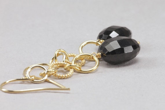 black spinel and gold hoop earrings . notte