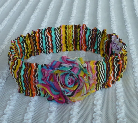 Crazy for Stripes Dog Scrunchie Necklace with striped rose - M