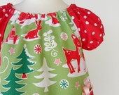 CHRISTMAS DEER TUNIC DRESS with CUTE PRESENT POCKET   Size 6M, 1T, 2T, 3T and 4T