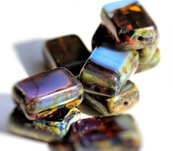 Picasso Czech Glass Beads, Dusk Polished Window Rectangle, 12x8mm, 8 -- LAST ONE --