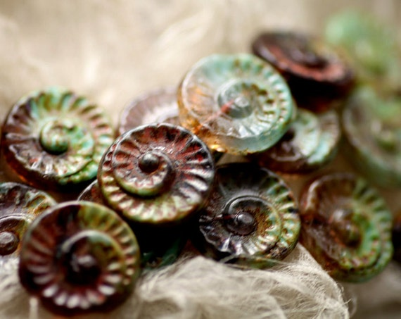 Picasso Czech Glass Beads, Patina Spiral Chunky Pressed Disk, 19mm, 4 - LAST ONE