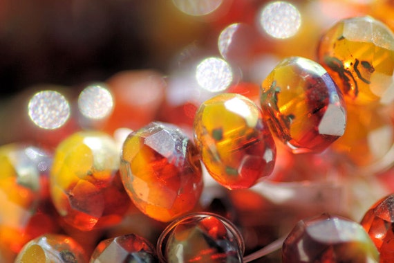 Czech Glass Bead, Picasso Blood Orange II Faceted Roundel, 6x8mm, 10 -- LAST ONE --