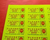 30 Personalized DO NOT BEND Neon Yellow 1-Inch Labels. 2426
