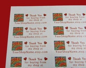 30 PERSONALIZED Thank You Labels. 1 Sheet of White 1-Inch Labels Printed in Color. 2566