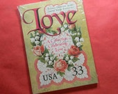 6 Jumbo Post Cards of USPS Stamps. A Collection Celebrating Love. Six 5x7 Postcards of U.S. Postage Stamps 1990 thru 1999. Item 2331