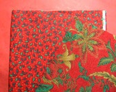 2 Pieces Cranberry Red Fabric. Green Holly Leaves and Green and Yellow Leafy Floral Designs. Destash. 2572