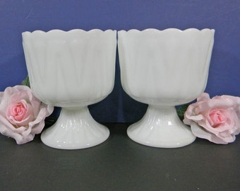 2 Milk Glass Vases / Planters / Candle Holders / Candy Dishes / Compotes. Vintage Wedding Collection. 5018