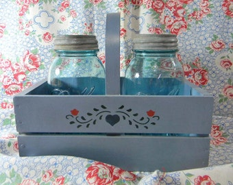 2 Blue Ball Jars with Zinc Lids in Wooden Basket. 2 Quart Perfect Mason Glass Jars. Wedding Collection. Vintage. 4496