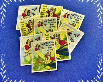 15 Thank You Cards Fairies in a Garden. Yellow Background. 15 Thank You Tags. 5246