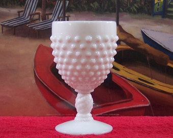 White Milk Glass Hobnail Goblet. Wedding Goblet. Vintage. 4546