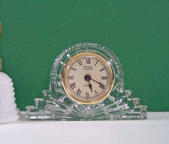 CRYSTAL LEGENDS CLOCK. LEAD CRYSTAL QUARTZ DESK CLOCK BY GODINGER. VINTAGE