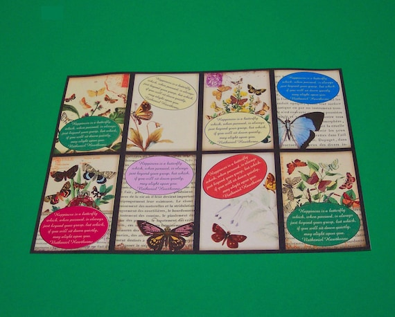 16 Happiness is a Butterfly Thank You Cards or Gift Tags. 2 SETS of 8 Cards. 2537