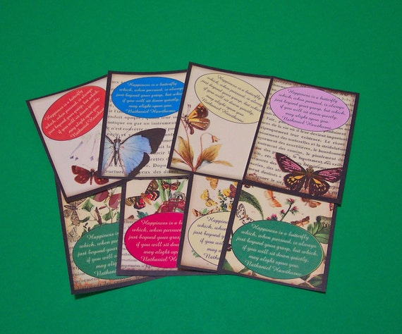 16 Happiness is a Butterfly Thank You Cards or Gift Tags. 2 SETS of 8 Cards. 2874