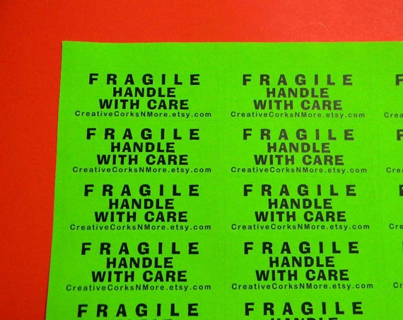 60 PERSONALIZED FRAGILE Handle With Care Labels. 2 Sheets Neon Green 1-Inch Labels 2474